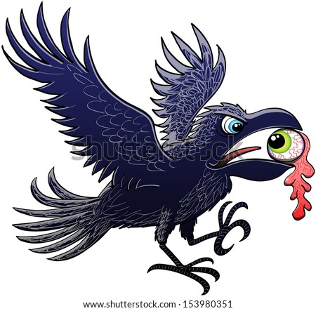 Evil raven extending and flapping its wings for landing after having ripped and stolen a green eyeball, which keeps perplex staring at the raven, with its powerful beak - stock vector