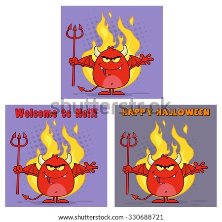 Evil Red Devil Cartoon Character Holding A Pitchfork Greeting Cards. Vector Collection Set - stock vector