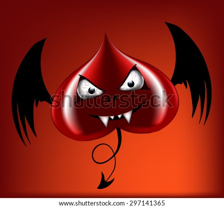 evil red heart with black wings - stock vector