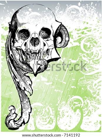 Evil skull vector illustration - stock vector