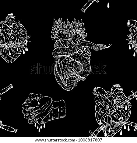 Evil Valentines Day Seamless Pattern On A Black Background Bleeding Pierced Squeezed Hearts