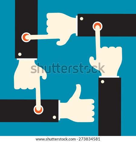 evoke positive response by pressing sensitive button - stock vector