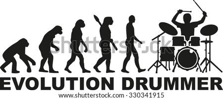 Evolution drummer - stock vector