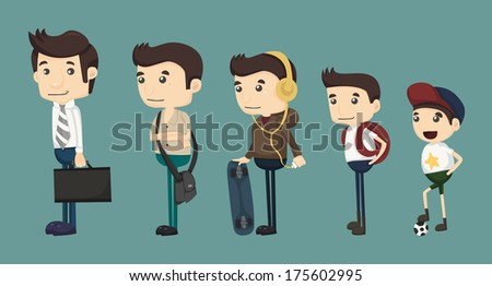 evolution of man from child , eps10 vector format - stock vector