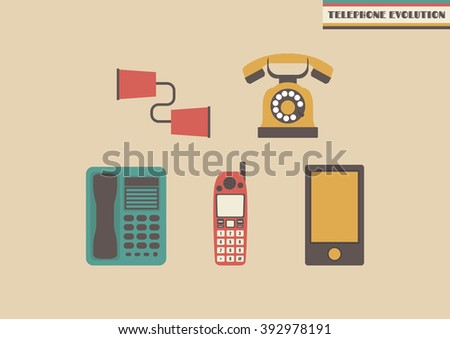 evolution of telephone, former to present - stock vector