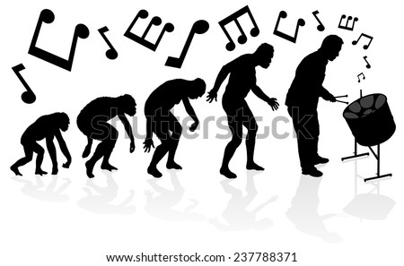 Evolution of the Steel Pan Player. Great illustration of depicting the evolution of a male from ape to man to Steel Pan Player in silhouette. - stock vector