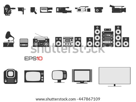 Evolution of video cameras, audio systems and televisions. First professional hd cameras, hi-fi and home audio systems and TV screens.