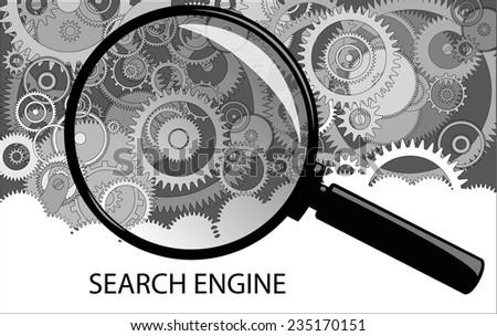 Examining clockwork mechanism through a magnifying glass. cogwheels a clockwork. Macro, extreme closeup. - stock vector