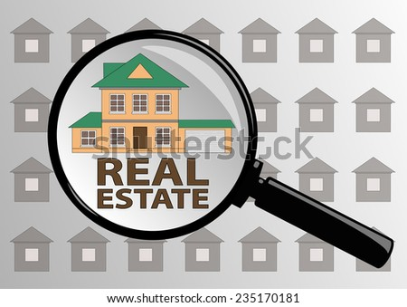 Examining Real estate in magazine through a magnifying glass.  - stock vector