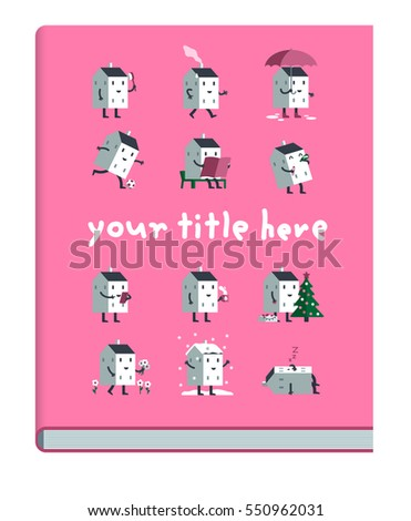 Example Book Cover Cute Doodle Houses Stock Vector 550962028 ...