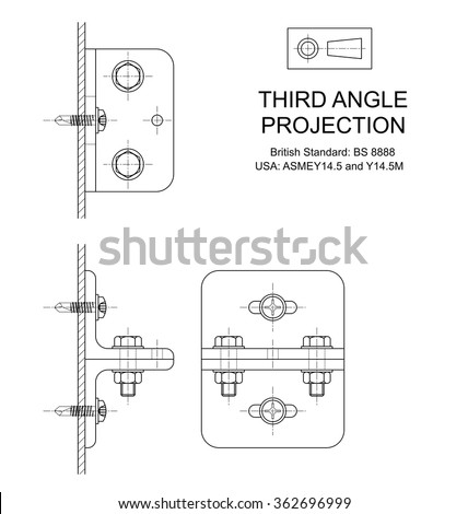 Example of third angle orthographic projection drawing using rolled steel angle assembly  - stock vector
