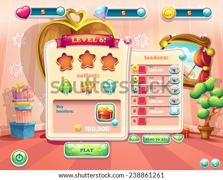 Example of user interface screens beginning of a new level of computer games - stock vector