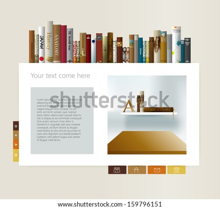 Example of web page. Bookstore page design. Book and shelf. Vector illustration. - stock vector