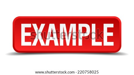 Example red 3d square button isolated on white background - stock vector