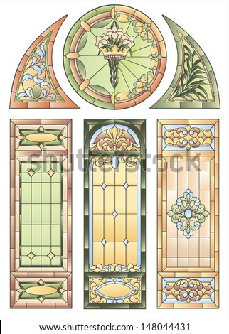 Examples of stained glass windows for decoration  in the Gothic style church or other religious buildings