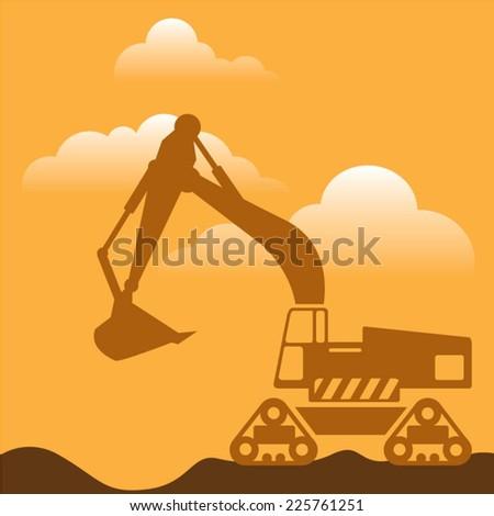 Excavator - stock vector