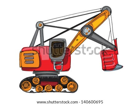 excavator - cartoon - stock vector