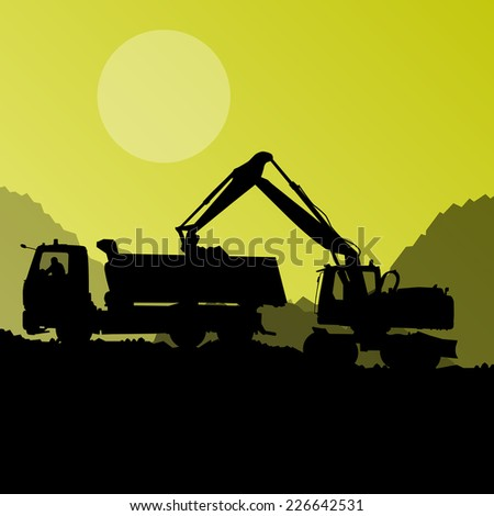 Excavator digger in action and heavy machinery vector background concept - stock vector
