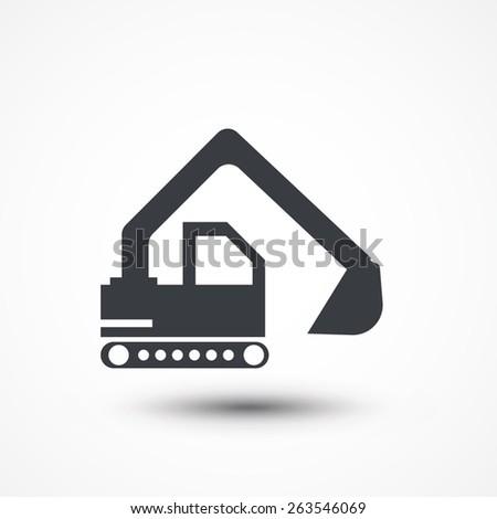 Excavator icon. - stock vector