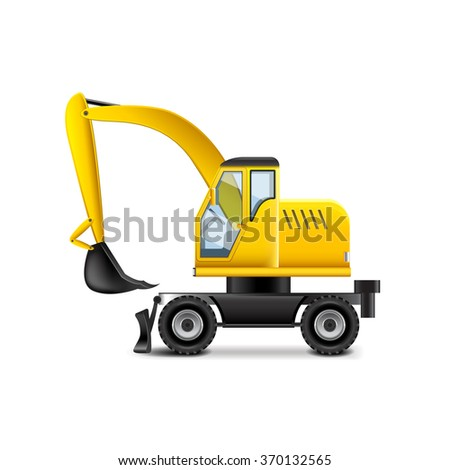 Excavator isolated on white photo-realistic vector illustration