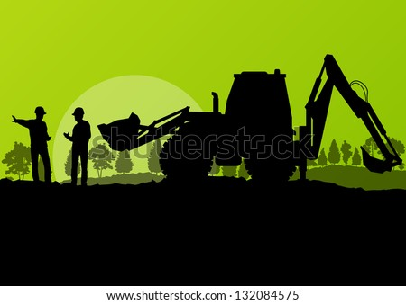 Excavator loader and workers digging at construction site with raised bucket vector background - stock vector
