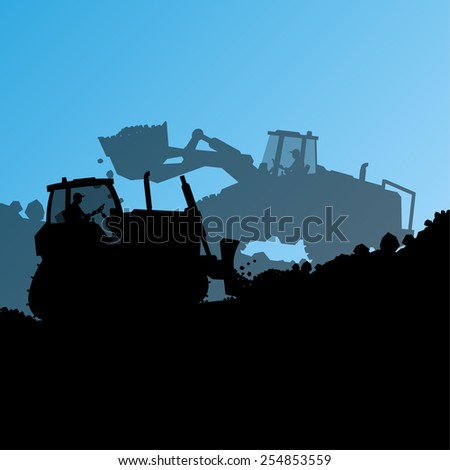 Excavator loader hydraulic machine tractor and bulldozer worker digging at industrial construction site vector abstract background - stock vector