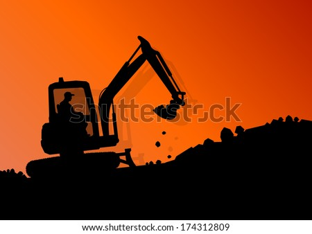 Excavator loader hydraulic machine tractor and workers digging at industrial construction site vector background illustration - stock vector