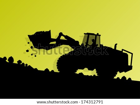 Excavator loader hydraulic machines tractor and worker digging at industrial construction site vector background illustration - stock vector