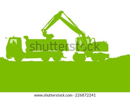 Excavator loader tractor digging at industrial construction site vector background illustration - stock vector