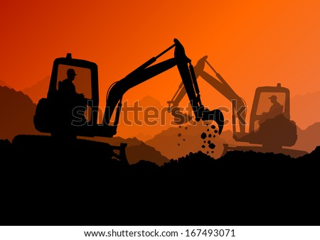 Excavator loaders and workers digging at construction site with raised bucket vector background illustration