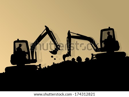 Excavator loaders hydraulic machines tractors and workers digging at industrial construction site vector background illustration