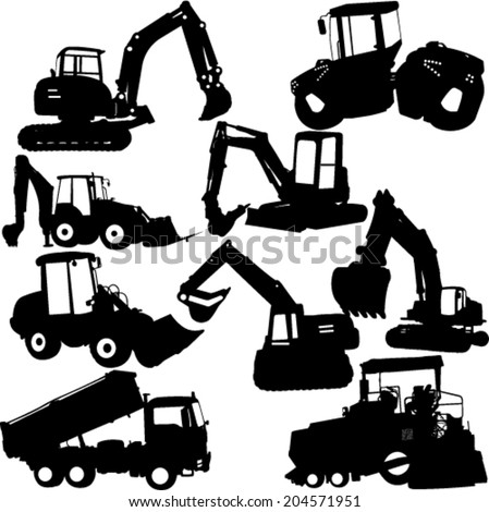 excavator silhouette collection - vector - stock vector