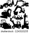 excavator silhouette set - vector - stock
