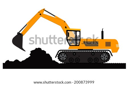 Excavator working on a white background - stock vector