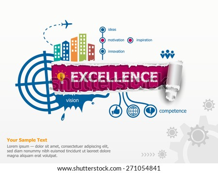 Excellence concept and breakthrough paper hole with ragged edges with a space for your message.  - stock vector
