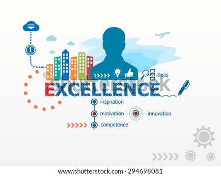 Excellence concept and business man. Flat design illustration for business, consulting, finance, management, career. - stock vector