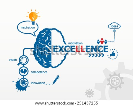 Excellence. Hand writing Excellence with blue marker - stock vector