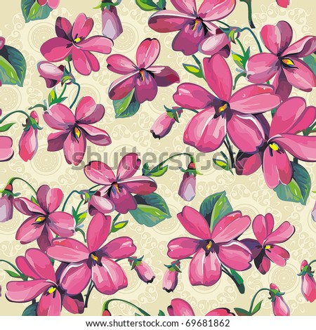 Excellent Beautiful flower seamless pattern. Abstract Vivid repeating floral background, vector illustration texture. - stock vector