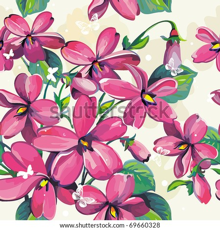 Excellent Beautiful flower seamless pattern, vector illustration texture with butterflies - stock vector