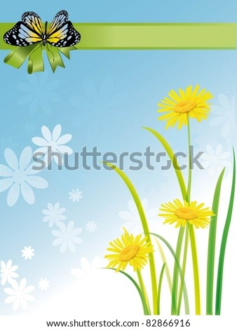 excellent illustration of a butterfly and chamomile