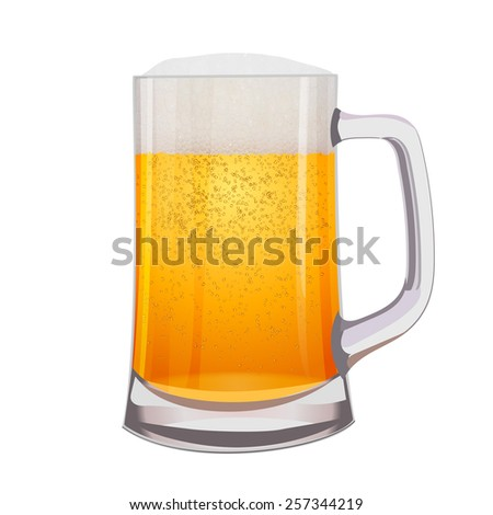 Excellent Isolated mug of beer on white. Vector illustration  - stock vector