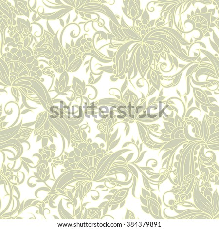 Excellent lace seamless background floral pattern in the ethnic style - stock vector