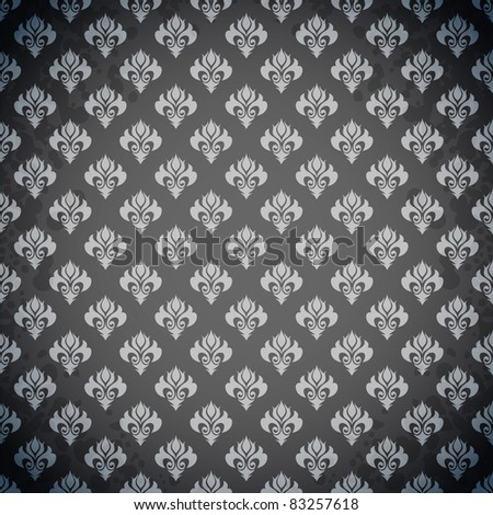 Excellent seamless black wallpaper - stock vector