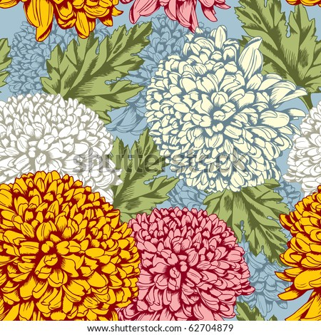 Excellent seamless pattern with chrysanthemum on gray background - stock vector