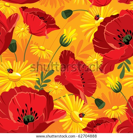 Excellent seamless pattern with with poppies and daisies on yellow background - stock vector