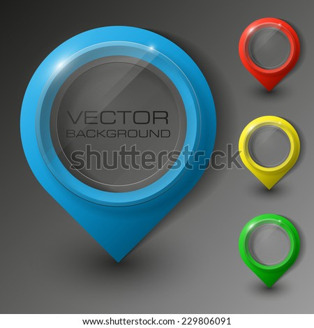 excellent set colorful pointers to determine your location. buttons and text areas in the elevator for a business presentation (info graphics) Origami colorful set. Round banner