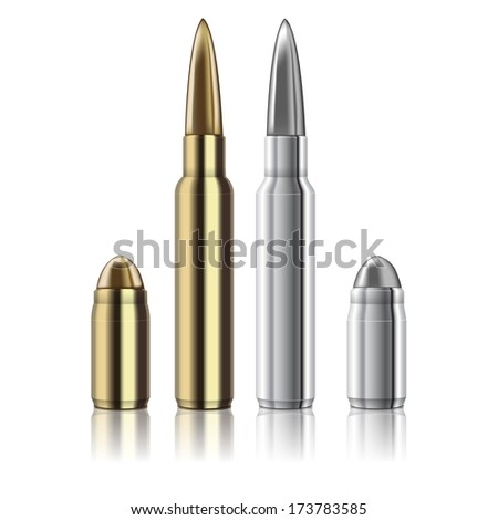 excellent Vector Rifle and pistol bullets isolated on white  - stock vector