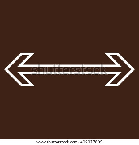 Exchange Arrow Horizontal vector icon. Style is contour icon symbol, white color, brown background. - stock vector