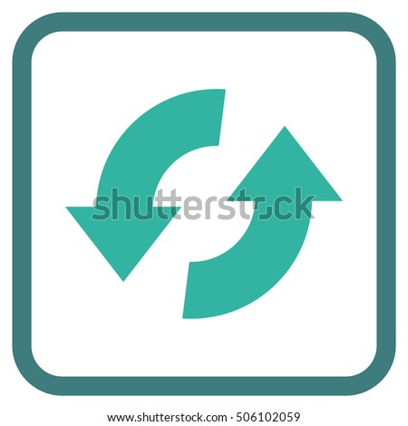 Exchange Arrows cobalt and cyan vector icon. Image style is a flat icon symbol in a rounded square frame on a white background.