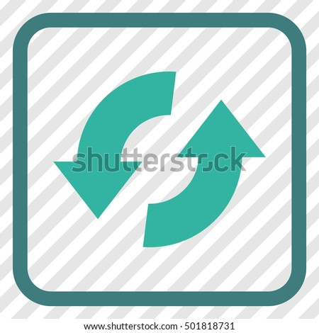 Exchange Arrows cobalt and cyan vector icon. Image style is a flat pictogram symbol in a rounded square frame on a transparent diagonally hatched background.